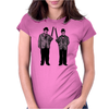 Laurel and Hardy holding shotguns illustration Womens Fitted T-Shirt