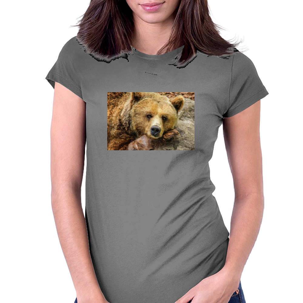 Lazy Grizzly Bear Painted Picture Womens Fitted T-Shirt