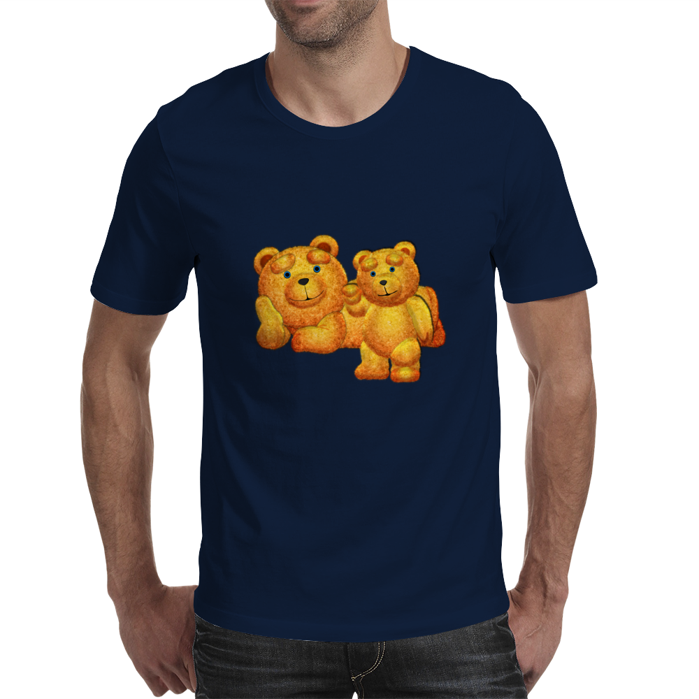 Lazzy Teddy bear Mama N Cub Mens T-Shirt