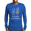 life is better with friends king and queen orange dress white lines crown Mens Long Sleeve T-Shirt