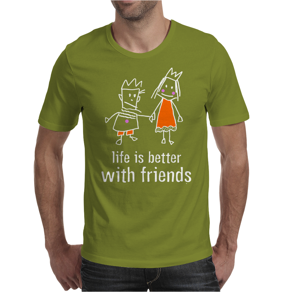 life is better with friends king and queen orange dress white lines crown Mens T-Shirt