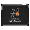 life is better with friends king and queen orange dress white lines crown Tablet