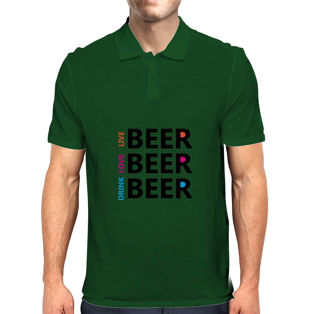 Live Love Drink Beer Mens Polo