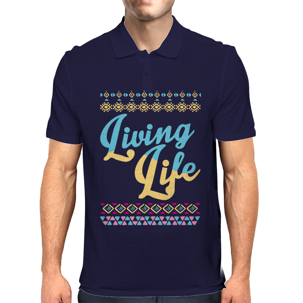 Living Life Aztec Mens Polo