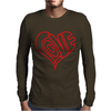 Love Heart Outline Valentine's Day Mens Long Sleeve T-Shirt