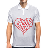 Love Heart Outline Valentine's Day Mens Polo
