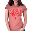 Love Heart Outline Valentine's Day Womens Fitted T-Shirt