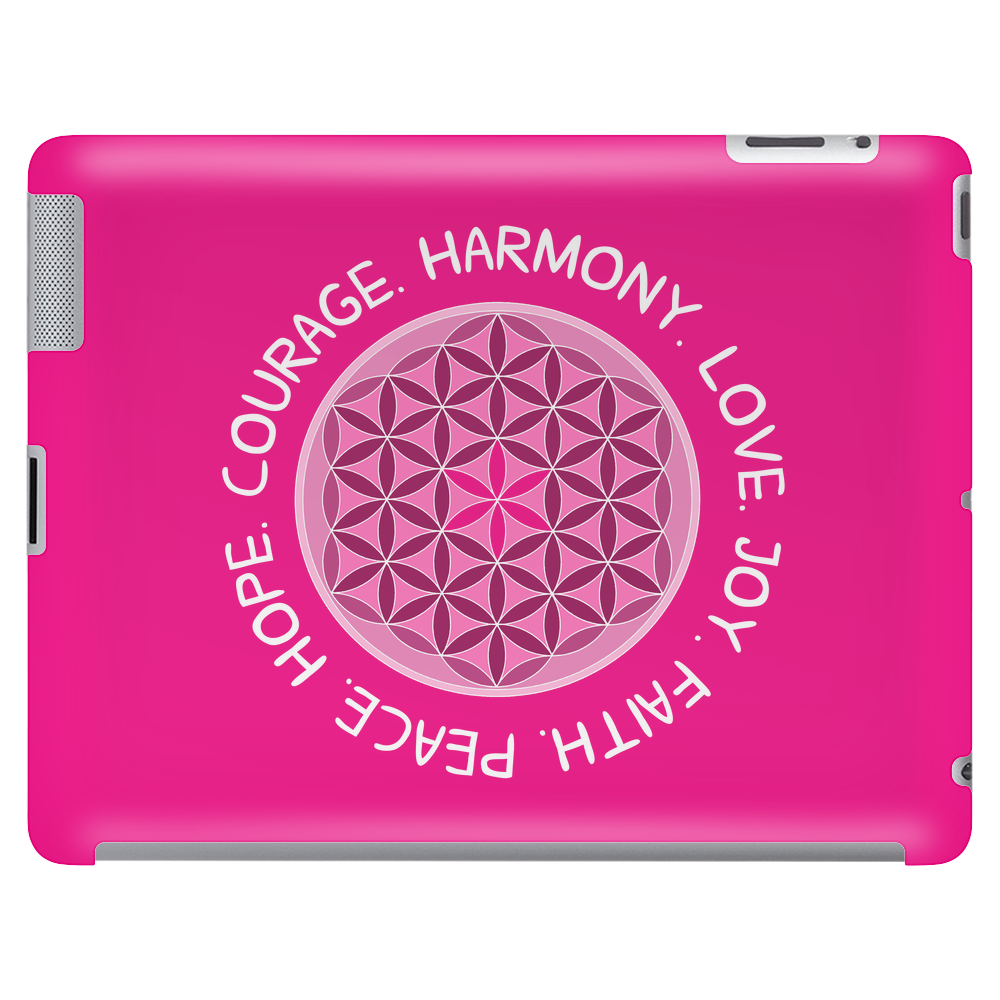 Love. Joy. Harmony. Courage. Hope. Peace. Faith. Tablet (horizontal)