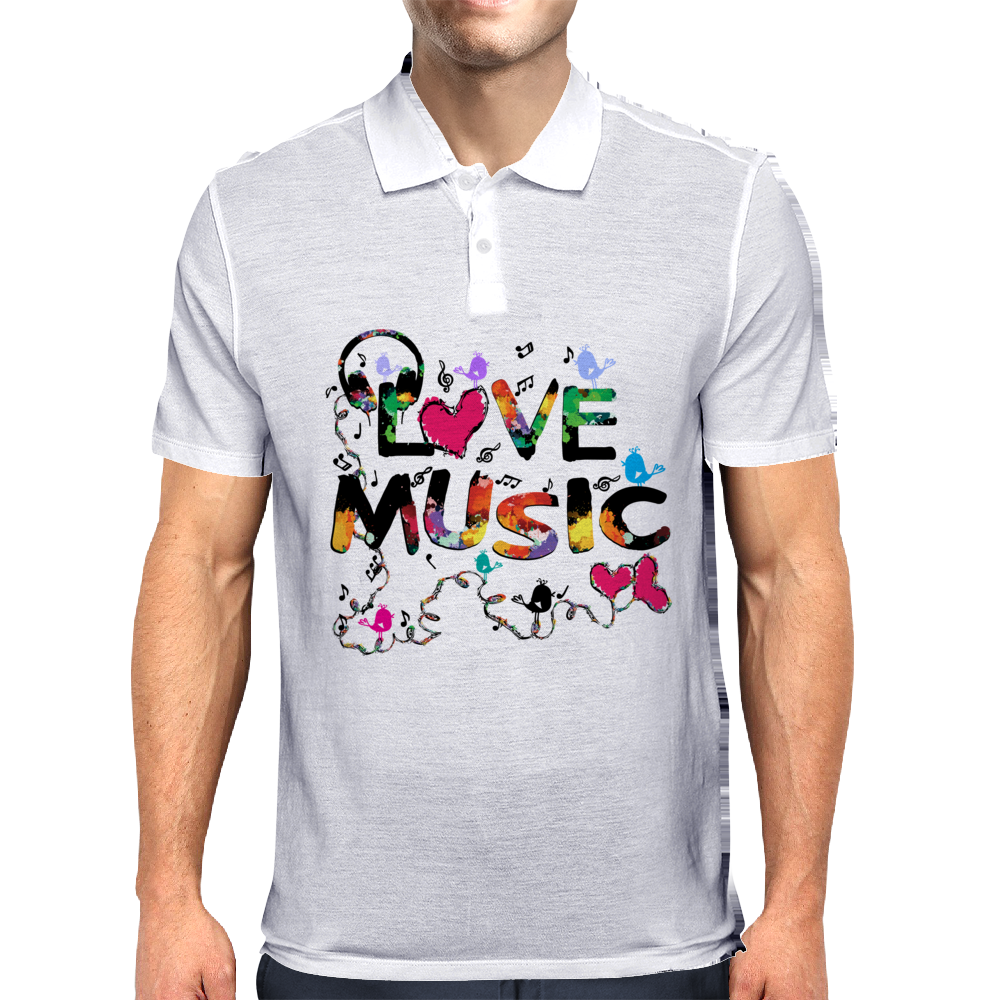 LOVE MUSIC Mens Polo
