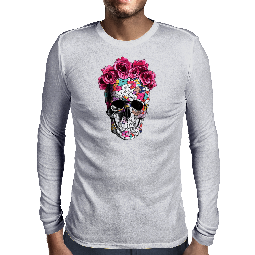Love Skull with Roses Mens Long Sleeve T-Shirt