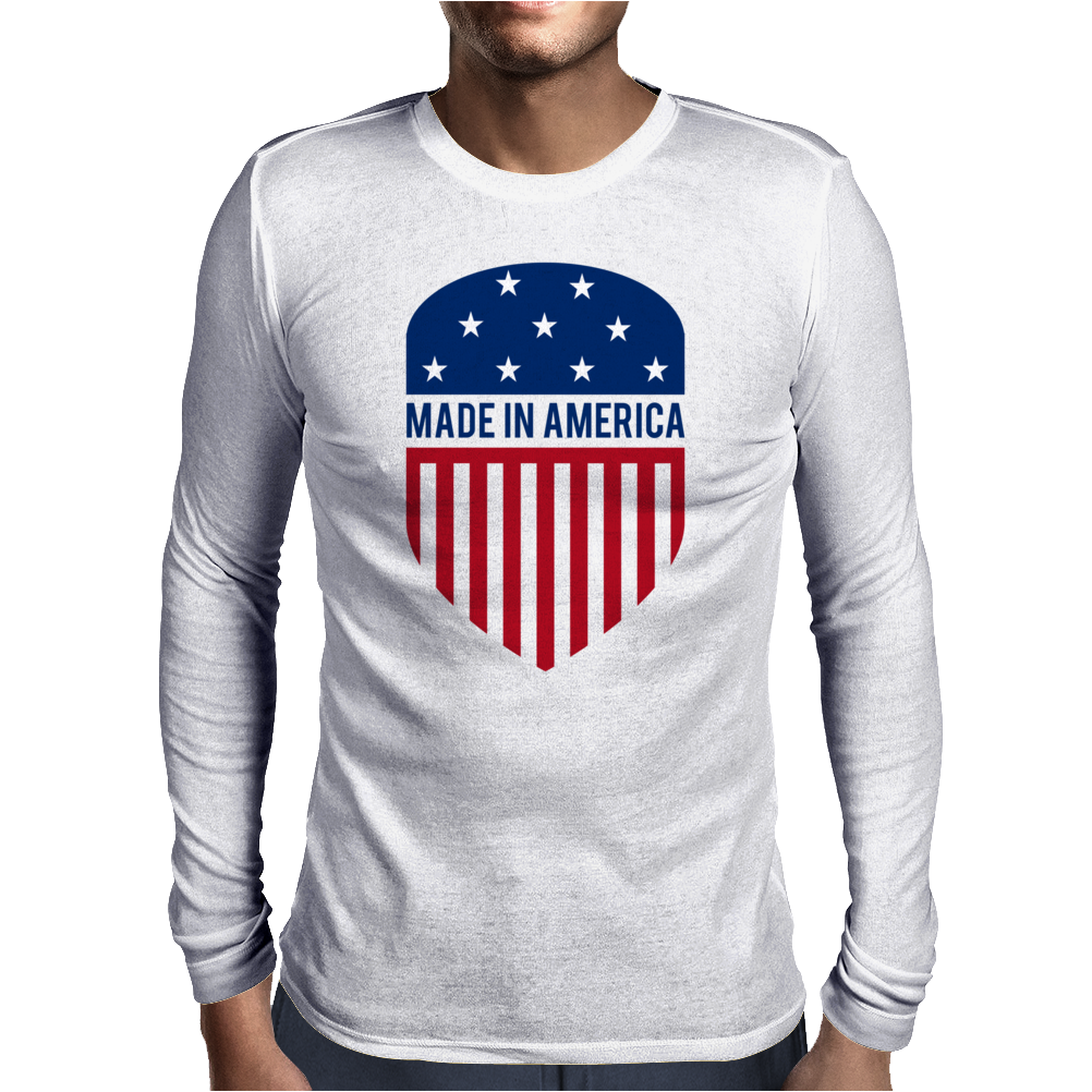 Made in America Shield Mens Long Sleeve T-Shirt