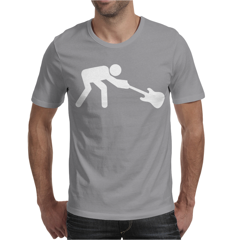 Man Breaking Rock Guitar Mens T-Shirt