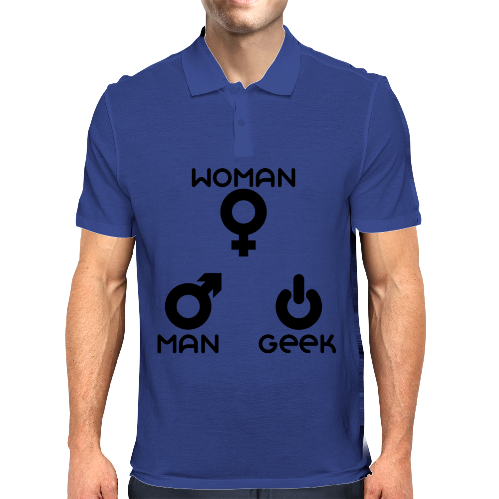man woman geek Mens Polo