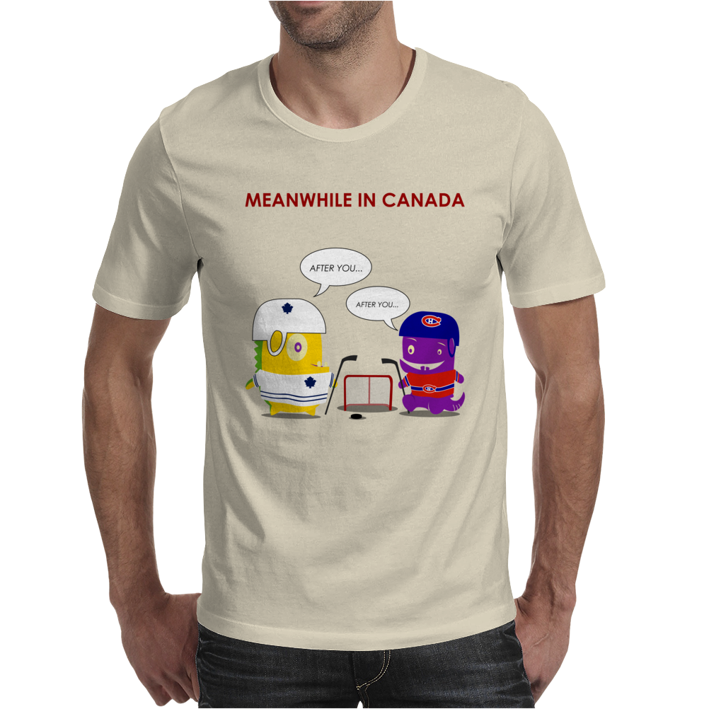 Meanwhile in Canada. Let's play ice hockey! Mens T-Shirt