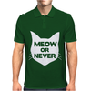 Meow or Never Cat Mens Polo