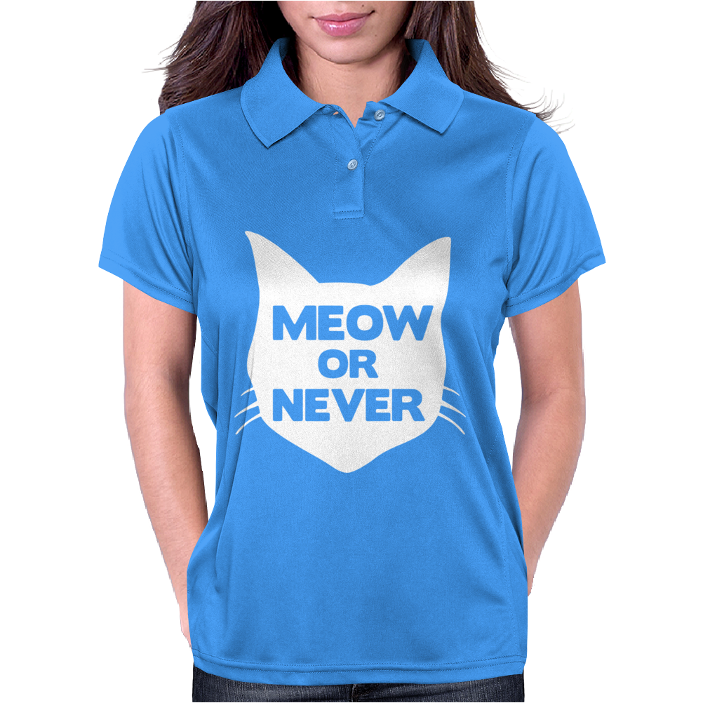 Meow or Never Cat Womens Polo