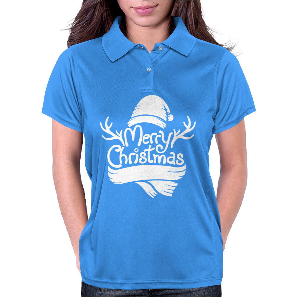 Merry Christmas Reindeer Antlers & Scarf Hat Womens Polo