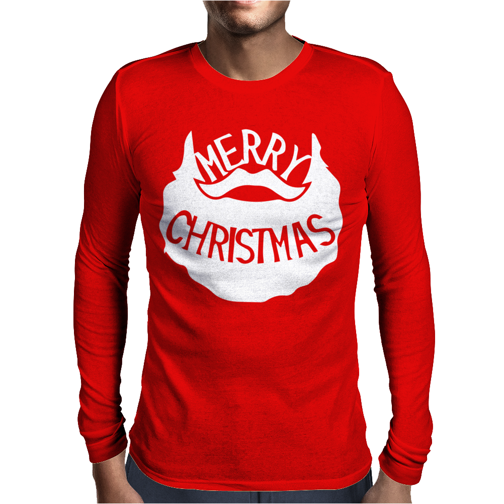 Merry Christmas Santa Beard Mens Long Sleeve T-Shirt