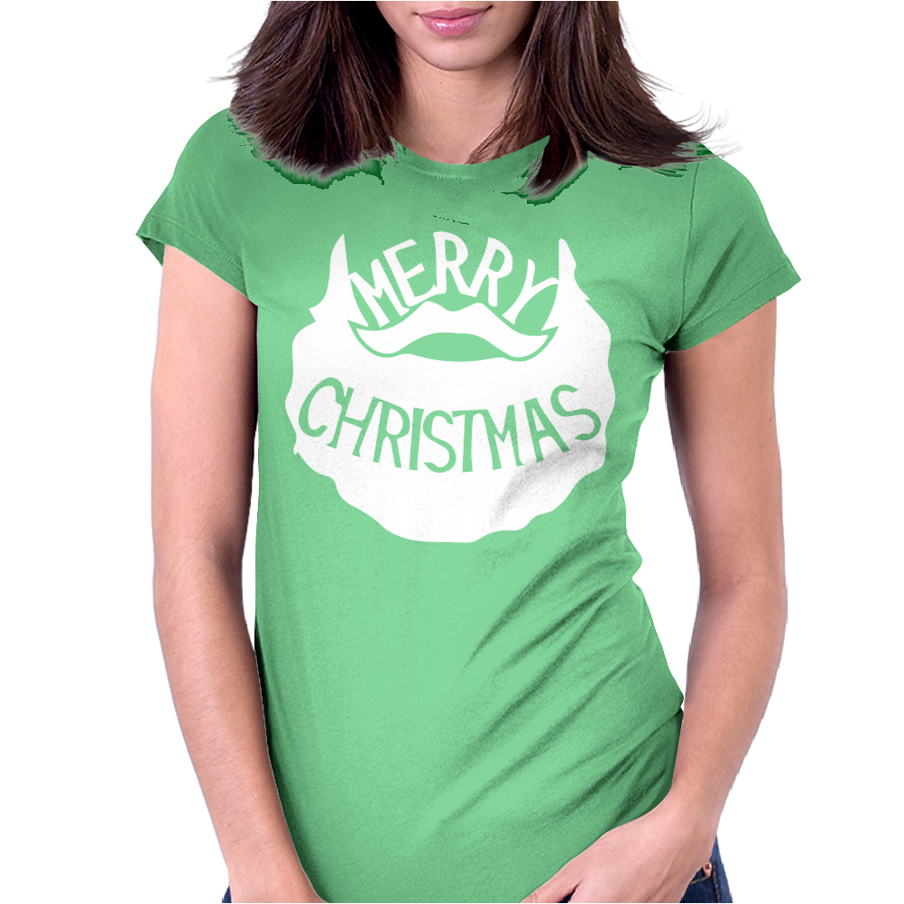 Merry Christmas Santa Beard Womens Fitted T-Shirt