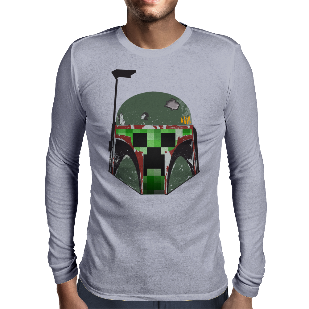 Minecraft Creeper - Boba Fett Helmet Mens Long Sleeve T-Shirt
