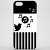 Modern stylish song bird on stripes Phone Case
