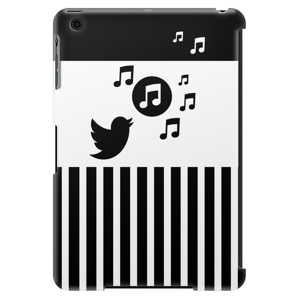 Modern stylish song bird on stripes Tablet (vertical)