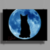 Moon and Cat Poster Print (Landscape)