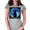 Moon and Cat Womens Fitted T-Shirt