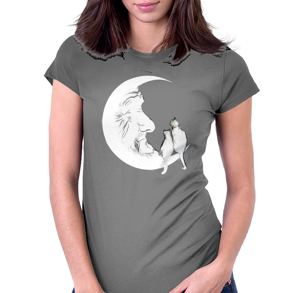 Moon and cats Womens Fitted T-Shirt