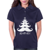 Moustache Christmas Tree Ho Ho Ho Snowflake Womens Polo