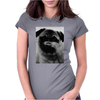 Moustache Tshirt Pug Womens Fitted T-Shirt