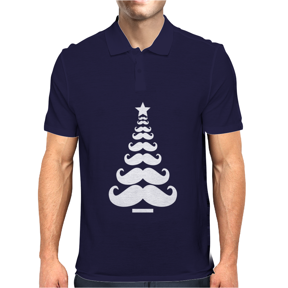 Movember Christmas Tree Moustache Beard Funny Mens Polo
