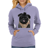 Mr P T-shirt Black Pug Womens Hoodie