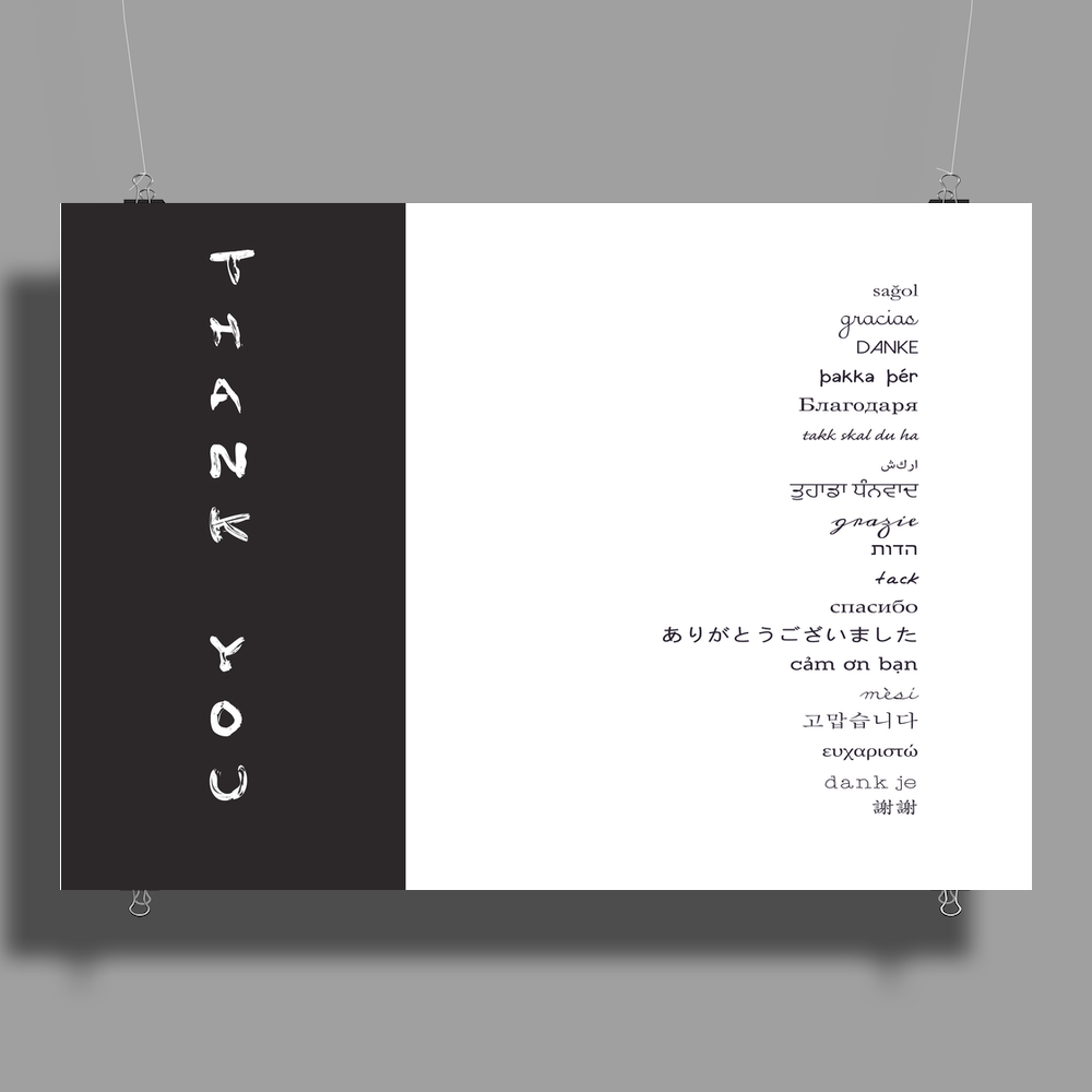 Multilingual Thank You Poster Print (Landscape)