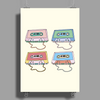 music compact cassettes magnetic tape recording pastel graffiti street art vintage retro the 80's Poster Print (Portrait)