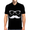Mustache Glasses Nerd Mens Polo
