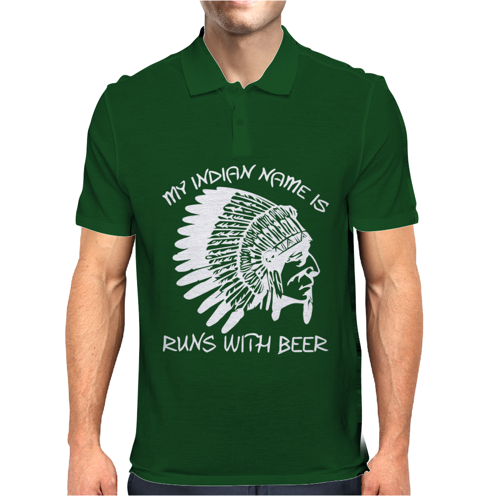 My Indian Name is Runs With Beer Mens Polo
