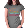 Neon Sign California Republic Flag Bear Womens Fitted T-Shirt