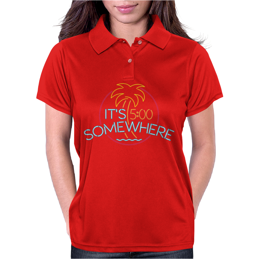 Neon Sign It's 5 O'Clock Somewhere Womens Polo
