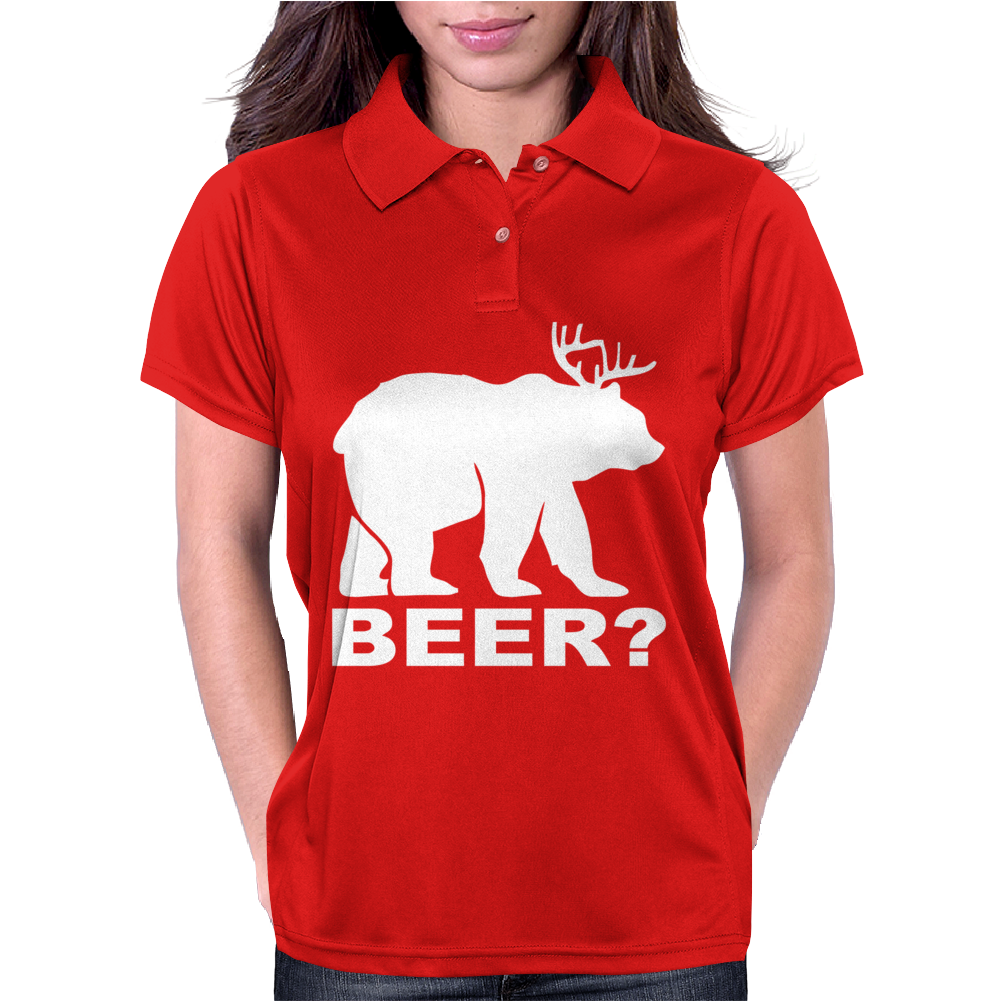 New Bear Deer BEER funny Womens Polo