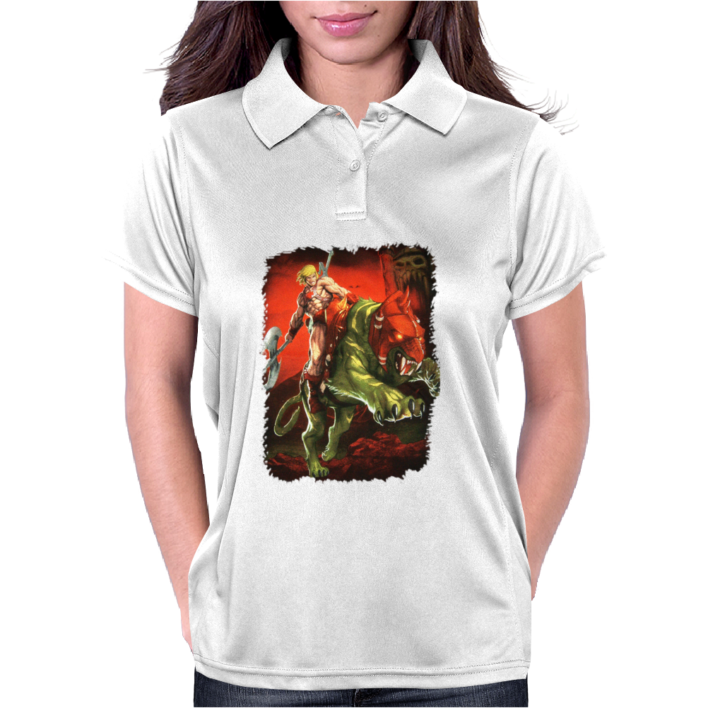New He Man On Battle Cat Masters Of The Universe Womens Polo