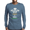 New Official Wru Welsh Rugby Printed Contrast Mens Long Sleeve T-Shirt