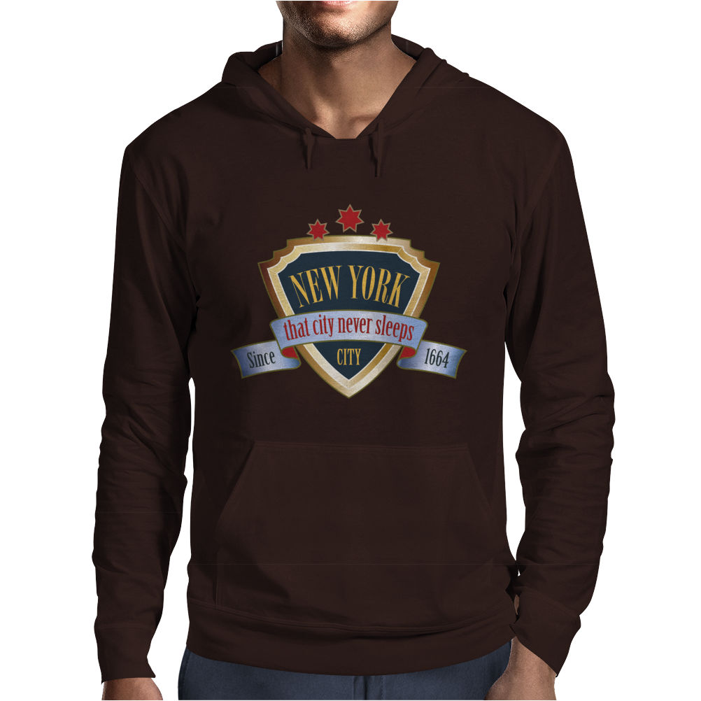 new york since 1664 that city never sleeps red stars Mens Hoodie