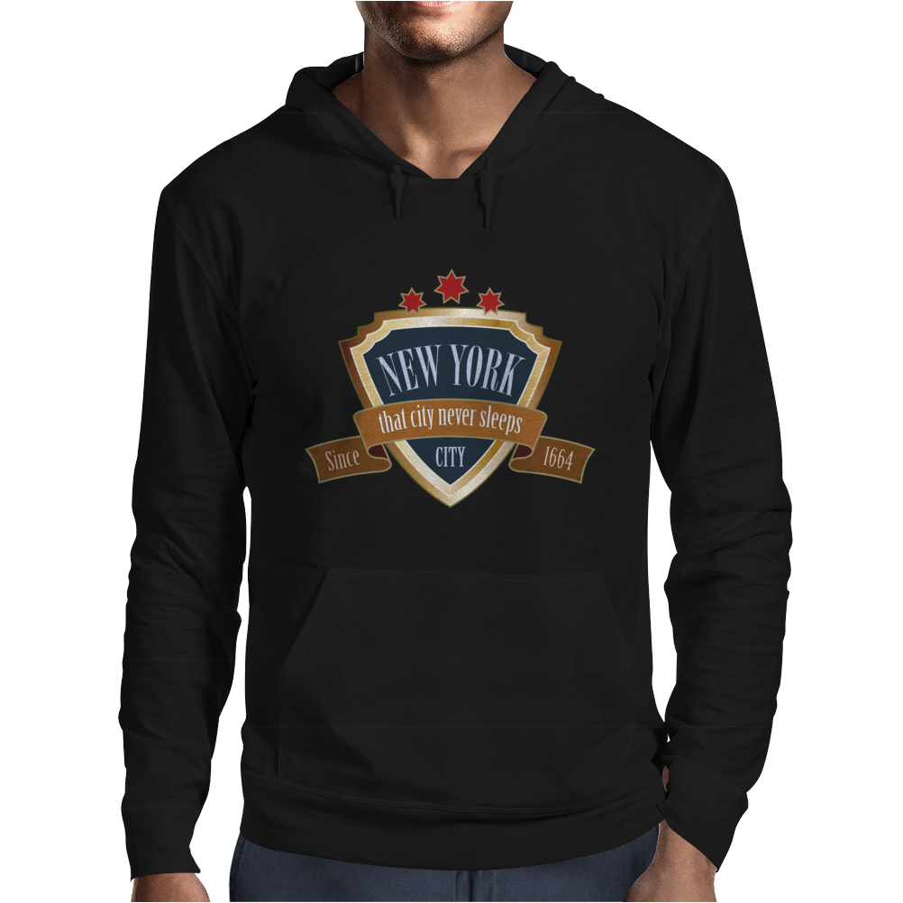 new york since 1664 that city never sleeps red stars retro Mens Hoodie