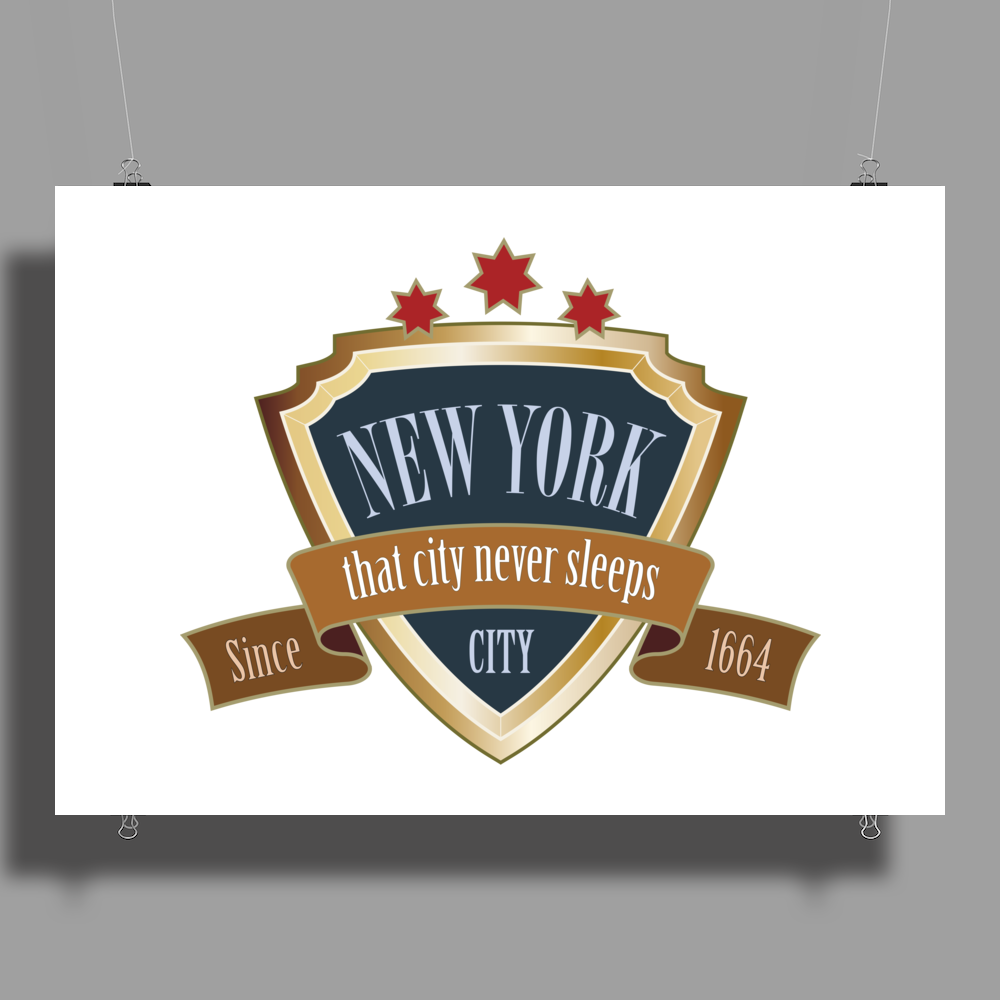 new york since 1664 that city never sleeps red stars retro Poster Print (Landscape)