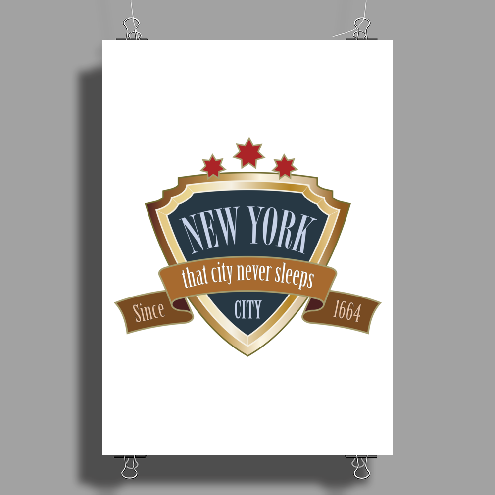 new york since 1664 that city never sleeps red stars retro Poster Print (Portrait)