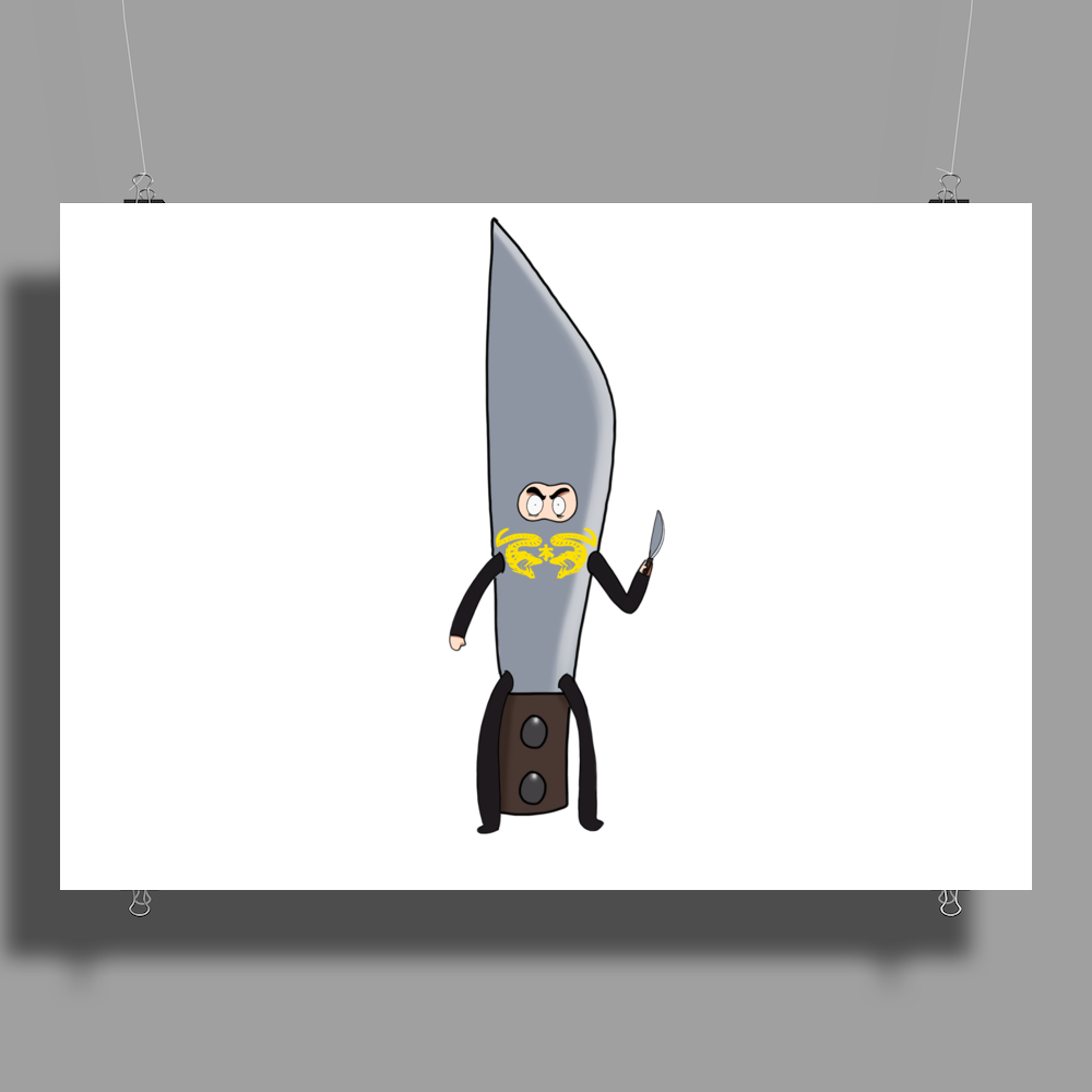 ninja Brian dressed as a knife holding a knife Poster Print (Landscape)