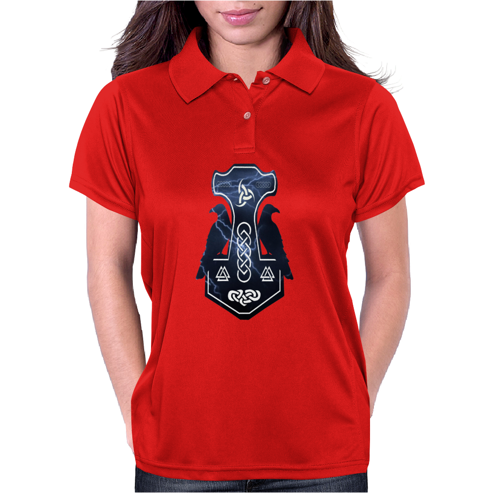 Norse Lightning Bolt Thor's Hammer Womens Polo