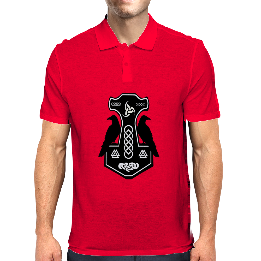 Norse Thor's Hammer with Ravens Mens Polo