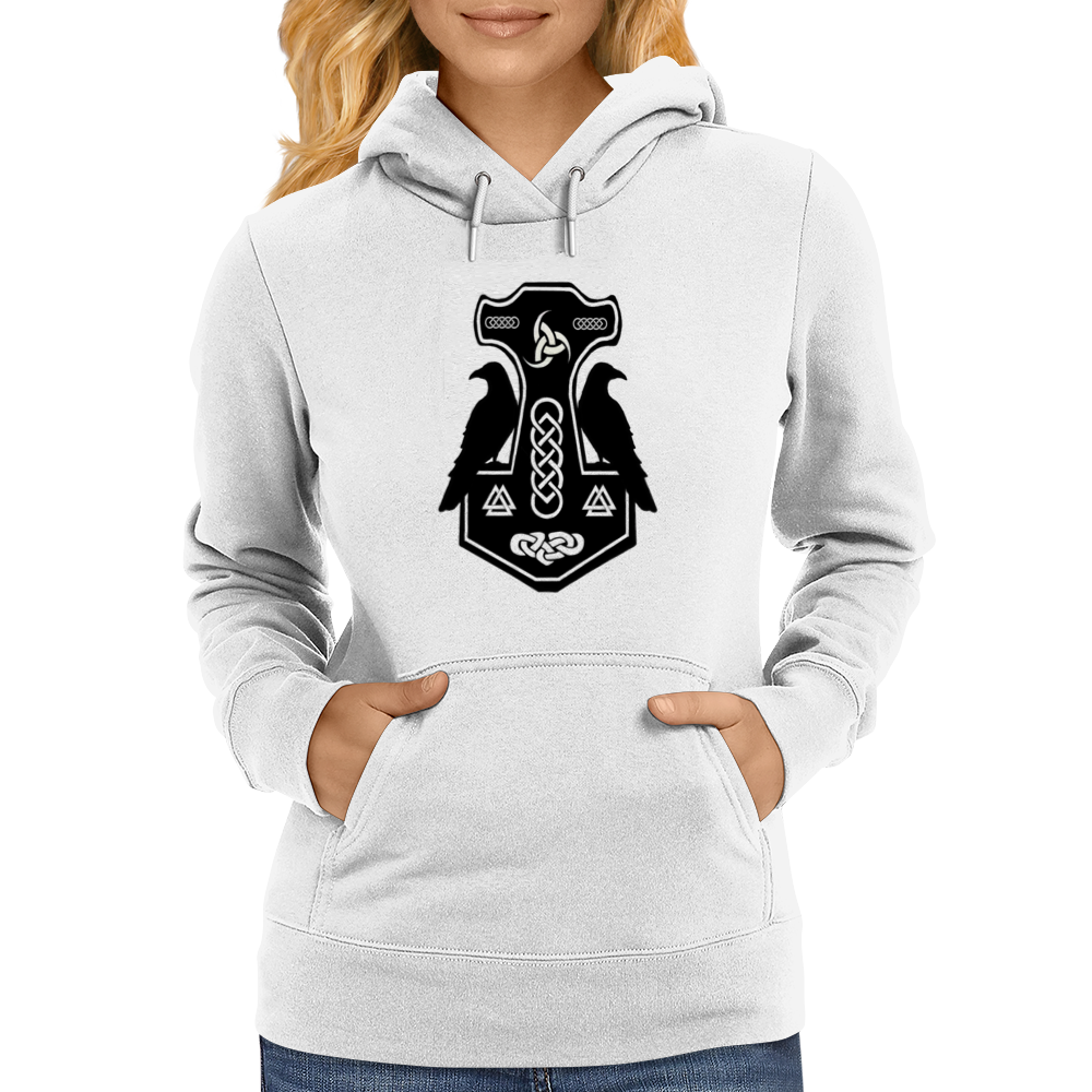 Norse Thor's Hammer with Ravens Womens Hoodie